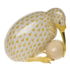 Herend Porcelain Fishnet Figurine of a Kiwi Bird with Egg